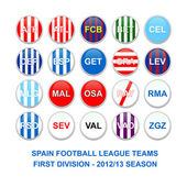 Spanish first division football league teams buttons — Stock Photo