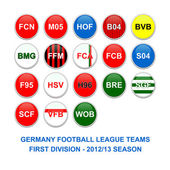 Germany first division football league teams buttons — 图库照片
