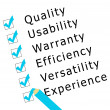 Stock Photo: Survey on quality, experience,...