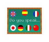 Chalkboard with text Do you Speak — Stock Photo