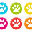 Stock Photo: Set of icons with pet footprints