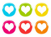 Colorful icons with hearts — Stock Photo