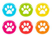 Set of icons with pet footprints — Stock Photo