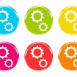 Icons of gears in some colors — Stock Photo