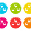 Icons of a network in some colors — Stock Photo