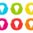 Stock Photo: Icons with light bulb symbol