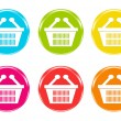 Icons with shopping baskets — Stock Photo