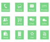 Green web icons — Stock Photo