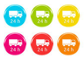 Delivery in 24 hours icons — Stock Photo