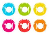 Icone colorate con piatto per mangiare — Foto Stock