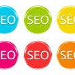 Colorful icons with SEO text — Stock Photo