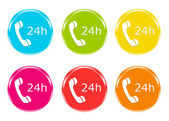 Icons to symbolize attention 24h — Stock Photo