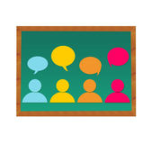 People and dialogues in blackboard — Stock Photo
