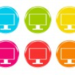 Stock Photo: Colorful icons with screen symbol