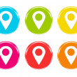 Icons with markers on maps symbol — Stock Photo #30155869