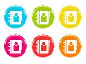 Kleurrijke pictogrammen met telefoonboek symbool — Stockfoto