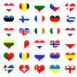 Heart shaped buttons of Europe — Stock Photo