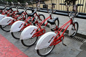 Bicycles of the bicing service in Barcelona, Spain — Stock Photo