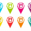 Stock Photo: Set of icons with address book symbol