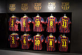 FC Barcelona shirts in FC Barcelona Shop — Stock Photo