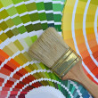 Pantone color catalog and a brush — Stock Photo #37517649