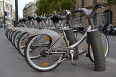 Some bicycles of the Velib bike rental service in Paris, France — Stock Photo