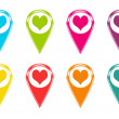 Set of icons with heart symbol — Stock Photo