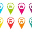 Stock Photo: Set of icons or colored markers with bus symbol