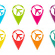 Set of icons or colored markers with airplane symbol — Stock Photo