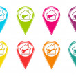 Set of house icons or colored markers on maps — Stock Photo