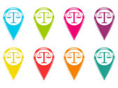 Set of justice scale icons or colored markers on maps — Stock Photo