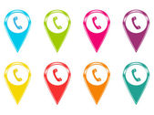 Set of icons or colored markers on maps with phone symbol — Photo