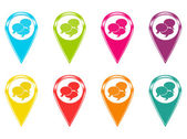Set of icons or colored markers on maps with conversation symbol — Stock Photo