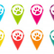 Set of icons or colored markers with pet footprints symbol — Stock Photo #41617613