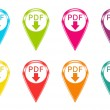 Set of icons with pdf download symbol — Stock Photo #41617655