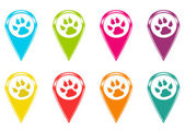 Set of icons or colored markers with pet footprints symbol — Stock Photo