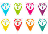 Set of icons with pdf download symbol — Stok fotoğraf