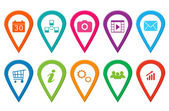 Icons for web or markers on maps — Stock Photo