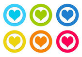 Rounded icons with heart symbol — Stock Photo
