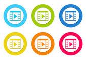 Set of icons with movie symbol — Stock Photo