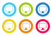 Set of rounded icons with tv screen or computer monitor symbol — Stock Photo