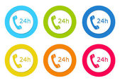 Colorful rounded icons to symbolize attention 24 hours — Stock Photo