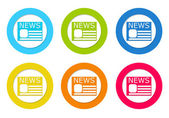Set or rounded icons to symbolize news — Stock Photo