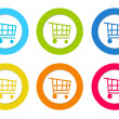 Set of colorful rounded icons with shopping cart symbol — Stock Photo #48012871