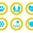 Set of colorful rounded icons with different symbols — Stock Photo #48013213