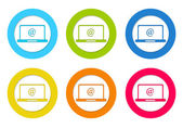 Colorful rounded icons with computer symbol — Stock Photo