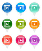 Set of rounded icons for markers on maps with movie symbol — Stock Photo