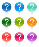 Set of rounded icons with question mark symbol — Stockfoto