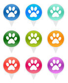 Rounded icons with pet footprints symbol — Stock Photo