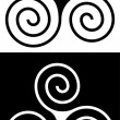 Celtic swirling design in black & white — Stock Vector